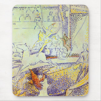 Circus horse and rider pointillist sketch Seurat Mouse Pad