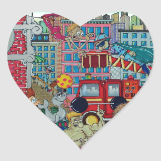 Circus In The City Heart Sticker
