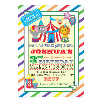 Circus Invitation w/Elephant