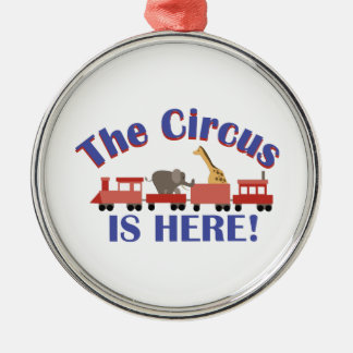 Circus is Here Round Metal Christmas Ornament