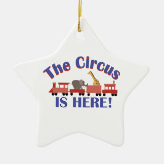 Circus is Here Double-Sided Star Ceramic Christmas Ornament