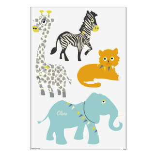 Circus Jungle Giraffe Zebra Tiger Elephant Wall Decal