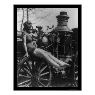 Circus Lady Sitting on a Fire Engine 1924 Print