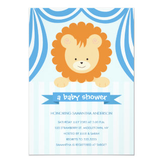 "Circus Lion Baby Shower Inviation - Boy 5"" X 7"" Invitation Card"