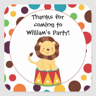 Circus Lion Birthday Party Sticker
