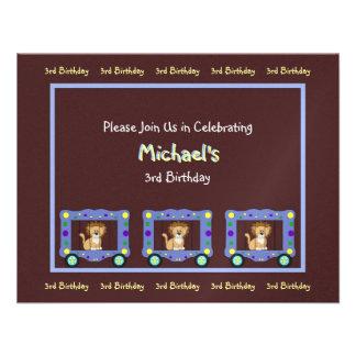Circus Lion on Brown Birthday Invitation