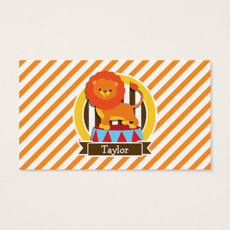 Circus Lion; Orange & White Stripes Business Card