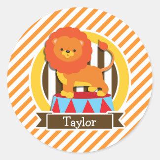 Circus Lion; Orange & White Stripes Classic Round Sticker