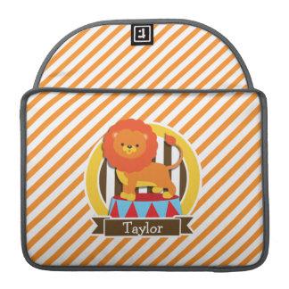 Circus Lion; Orange & White Stripes Sleeves For MacBooks