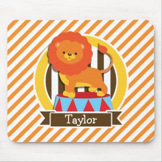 Circus Lion; Orange & White Stripes Mouse Pad