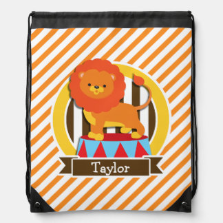 Circus Lion; Orange & White Stripes Cinch Bag