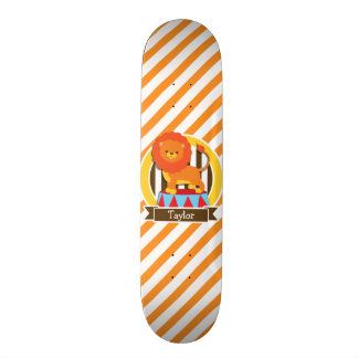 Circus Lion; Orange & White Stripes Skateboard Deck