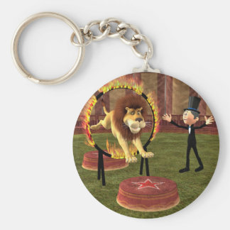 Circus Lion Ring Jump Basic Round Button Keychain