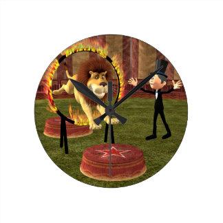 Circus Lion Ring Jump Round Clock