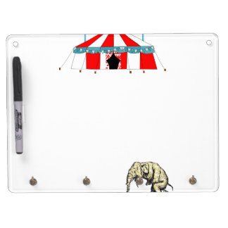 Circus Memorabilia In Memory of Circus Elephants Dry Erase Board With Keychain Holder