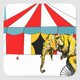Circus Memorabilia In Memory of Circus Elephants Square Sticker