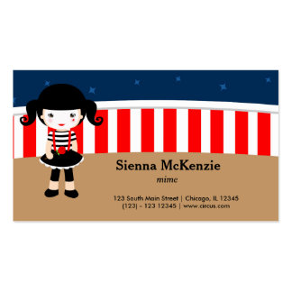 Circus Mime Double-Sided Standard Business Cards (Pack Of 100)