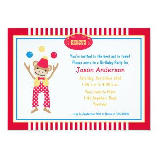 "Circus Monkey Birthday Invitation 5"" X 7"" Invitation Card"