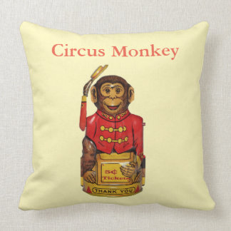 Circus Monkey Throw Pillow