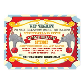 Circus Or Carnival Ticket Birthday Invitation by McBooboo at Zazzle