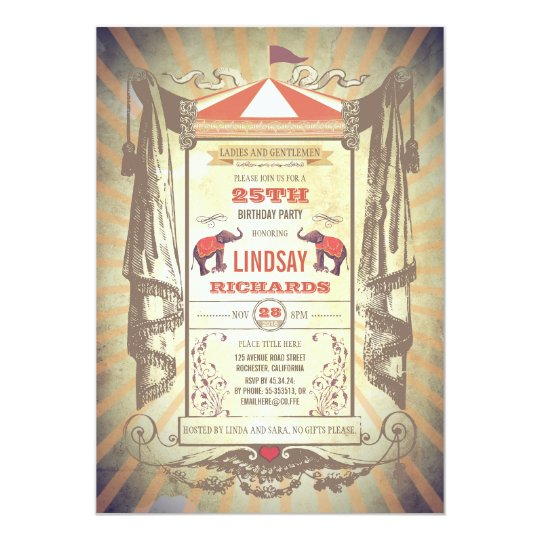 Circus Or Vintage Carnival Birthday Party Invitation