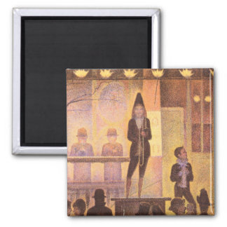Circus parade by Georges Seurat 2 Inch Square Magnet