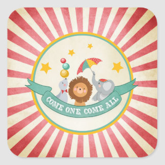Circus Party Favor Tags Carnival Envelope seal