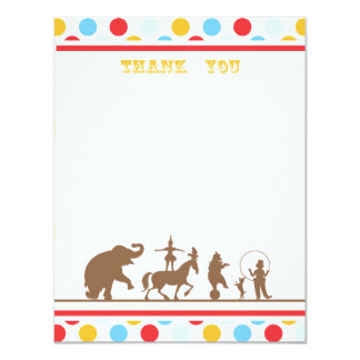 Circus Party Flat Thank You Note 4.25x5.5 Paper Invitation Card