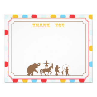 Circus Party Flat Thank You Note Personalized Announcements