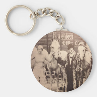 Circus Performers and White Horses Keychains