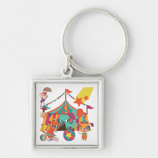 Circus Performers Silver-Colored Square Keychain