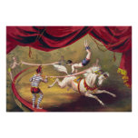 Circus poster showing acrobat performing on horse