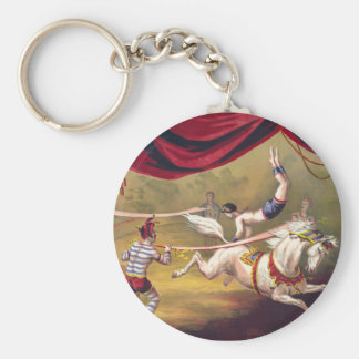 Circus poster showing acrobat performing on horse basic round button keychain
