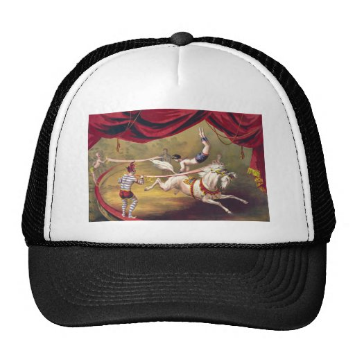 Circus poster showing acrobat performing on horse trucker hats