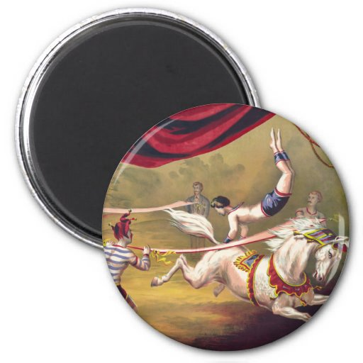 Circus poster showing acrobat performing on horse refrigerator magnets