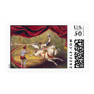 Circus poster showing acrobat performing on horse postage