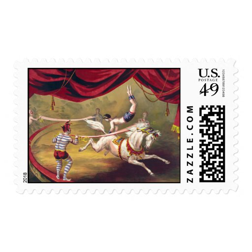 Circus poster showing acrobat performing on horse stamps
