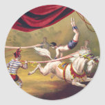 Circus poster showing acrobat performing on horse round sticker