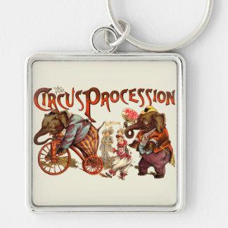 Circus Procession Elephants Keychain
