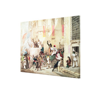 Circus Procession in Italy, 1830 Canvas Print