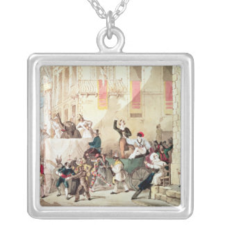Circus Procession in Italy, 1830 Silver Plated Necklace
