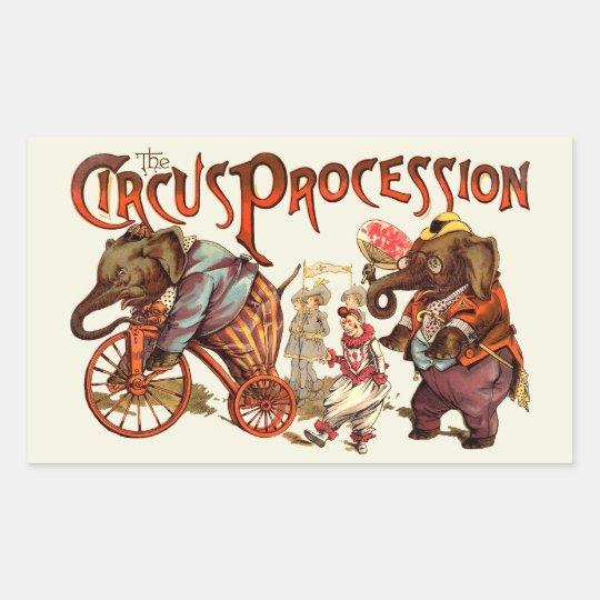 Circus Procession Rectangular Sticker