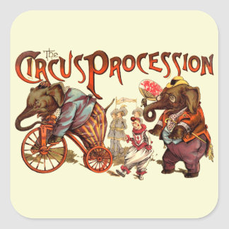 Circus Procession Square Stickers
