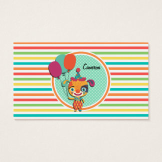Circus Puppy; Bright Rainbow Stripes Business Card