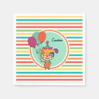 Circus Puppy; Bright Rainbow Stripes Standard Cocktail Napkin