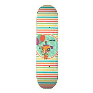 Circus Puppy; Bright Rainbow Stripes Skateboard Deck