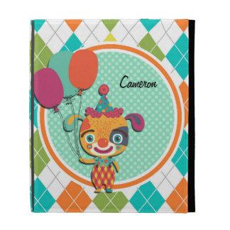 Circus Puppy on Colorful Argyle Pattern iPad Folio Cases