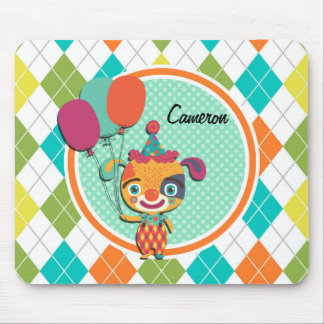 Circus Puppy on Colorful Argyle Pattern Mouse Pad