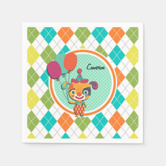 Circus Puppy on Colorful Argyle Pattern Standard Cocktail Napkin