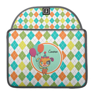 Circus Puppy on Colorful Argyle Pattern Sleeves For MacBooks